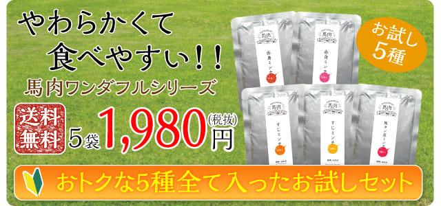 やわらかくて食べやすい!!ウエットフード馬肉ワンダフルシリーズ 送料無料5袋1,980円(税抜)おトクな5種全て入ったお試しセット