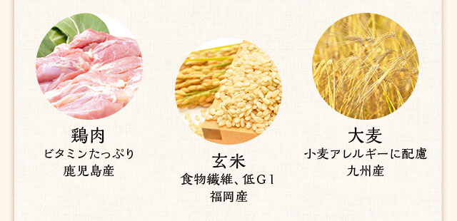 鶏肉 ビタミンたっぷり鹿児島産 玄米 食物繊維、低GI福岡産 大麦 小麦アレルギーに配慮九州産