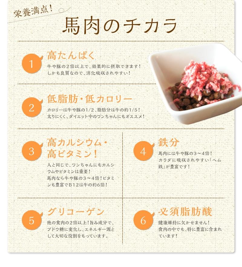 栄養満点!馬肉のチカラ POINT01高たんぱく POINT02低脂肪・低カロリー POINT03高カルシウム・高ビタミン! POINT04鉄分 POINT05グリコーゲン POINT06必須脂肪酸