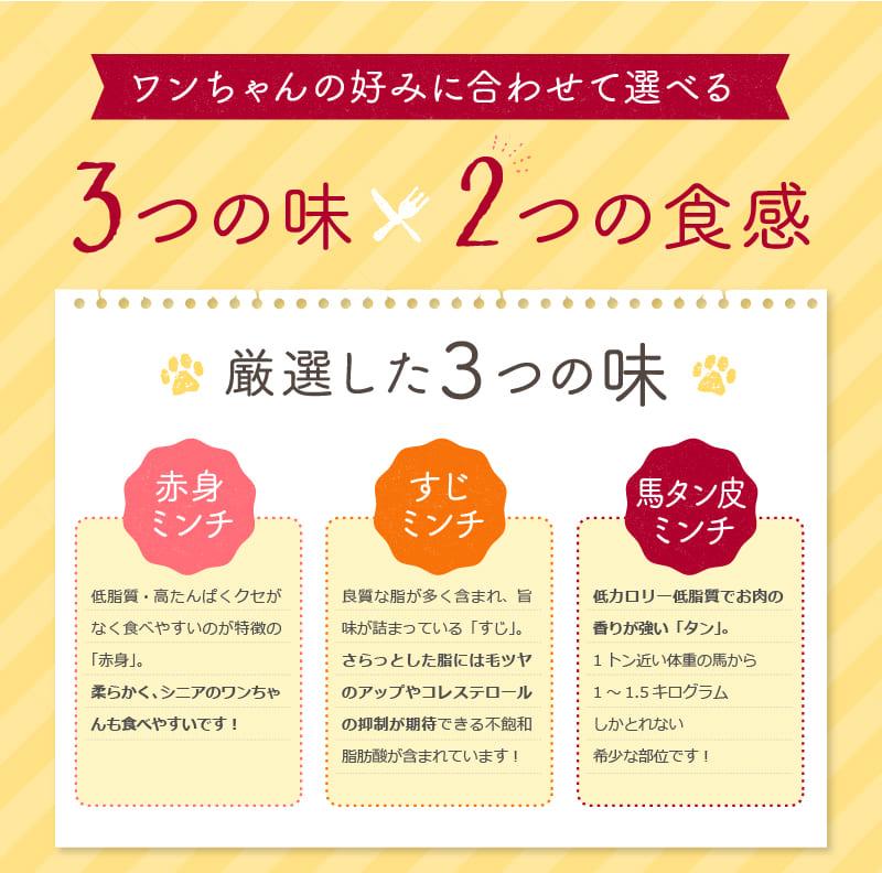 ワンちゃんの好みに合わせて選べる 3つの味×2つの食感 厳選した3つの味 赤身ミンチ 低脂質・高たんぱくクセがなく食べやすいのが特徴の「赤身」。柔らかく、シニアのワンちゃんも食べやすいです! すじミンチ 良質な脂が多く含まれ、旨味が詰まっている「すじ」。さらっとした脂には毛ツヤのアップやコレステロールの抑制が期待できる不飽和脂肪酸が含まれています! 馬タン皮ミンチ 低カロリー低脂質でお肉の香りが強い「タン」。1トン近い体重の馬から1~1.5キログラムしかとれない希少な部位です!