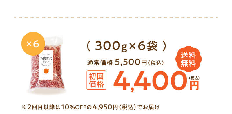 定期便「馬肉贅沢ミンチ」300g×6袋